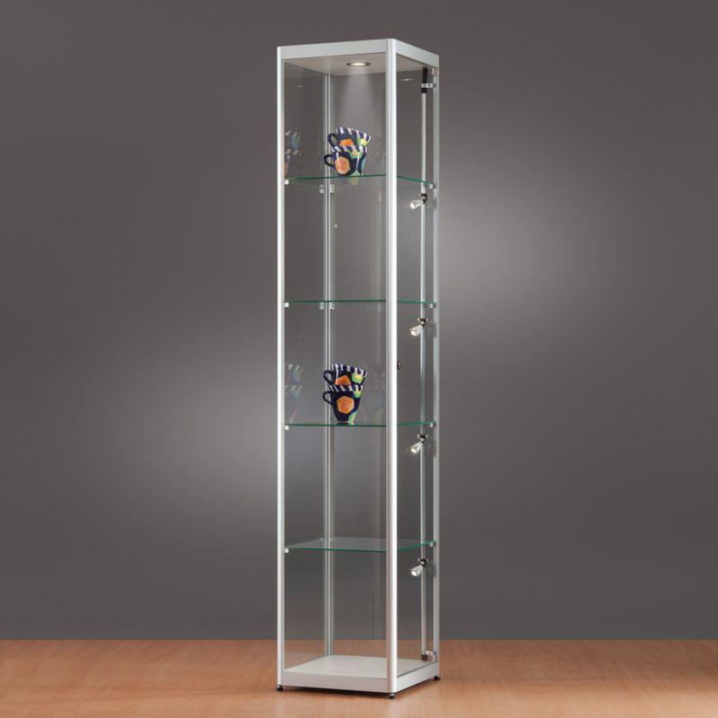 mpc glasvitrine mit fl gelt r und led beleuchtung b40xt40xh200cm. Black Bedroom Furniture Sets. Home Design Ideas