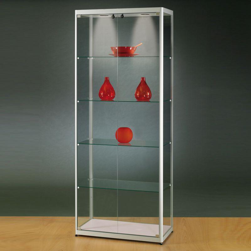mpc glasvitrine mit seitlichen t ren und led beleuchtung b80xt50xh200cm. Black Bedroom Furniture Sets. Home Design Ideas