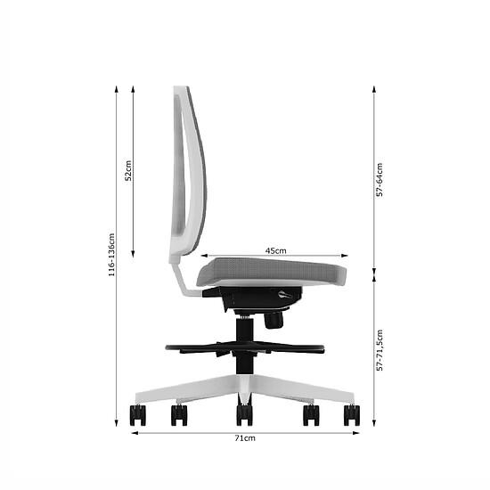 NAVIGO COUNTER WHITE Drehstuhl mit Ring Fußstütze und MESH PLUS Netzrücken