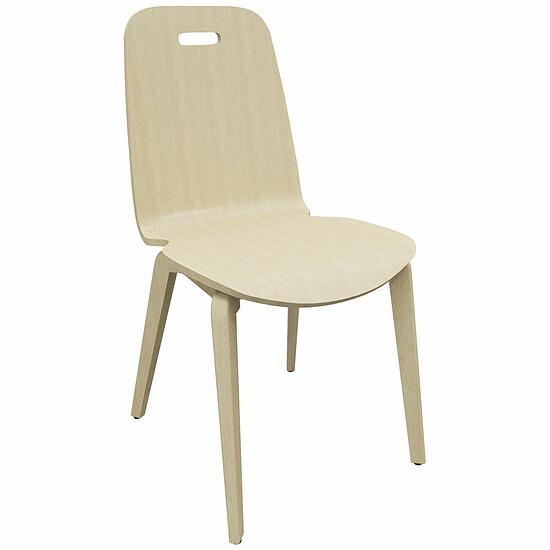 CAFE II Besucherstuhl mit 4 Fuß Holzgestell und Holz Sitzschale