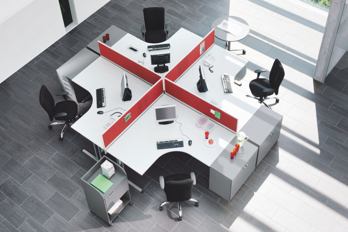 EXPERT Büromöbel Set, 4 Arbeitsplätze, 510x620cm (Komplettbüros)