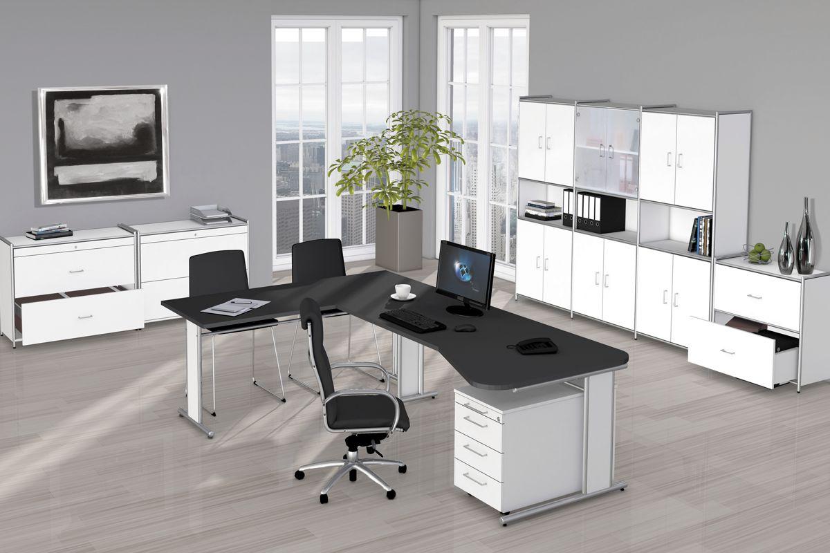 ARTLINE Büromöbel Set, 1 ergonomischer Arbeitsplatz mit Anbautisch ...