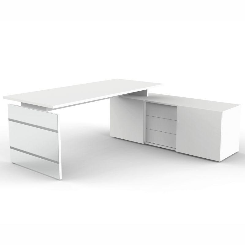 lugano schreibtisch mit sideboard 180x80cm. Black Bedroom Furniture Sets. Home Design Ideas